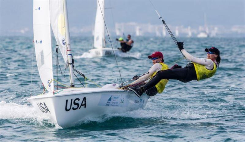 Girls 420, Carmen Cowles (Larchmont, N.Y.) and Emma Cowles (Larchmont, N.Y.) at Youth Sailing Worlds - photo © Jesus Renedo / Sailing Energy / World Sailing