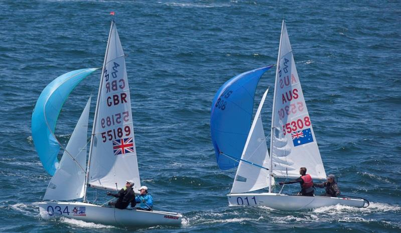 Britain's Archie Penn and Ben Warrington dicing for the finish in the Silver fleet with Australians Lachlan Nairn and Matthew van Riel – 420 World Championship - photo © Bernie Kaaks