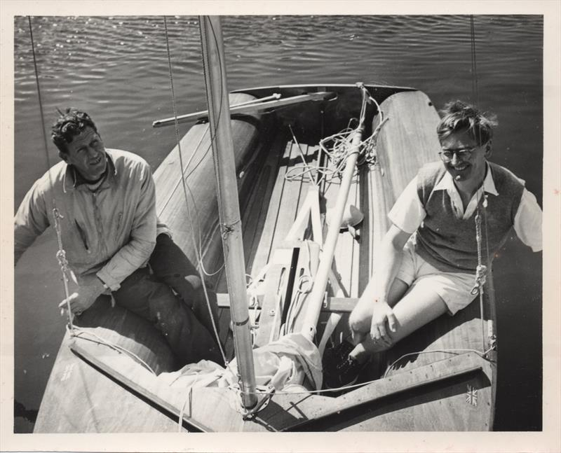 Max Johnson (l) and designer John Westell (r) on board a very early 505 at the first ever international event, a team race against the French at Ouisterham - photo © Westell Family