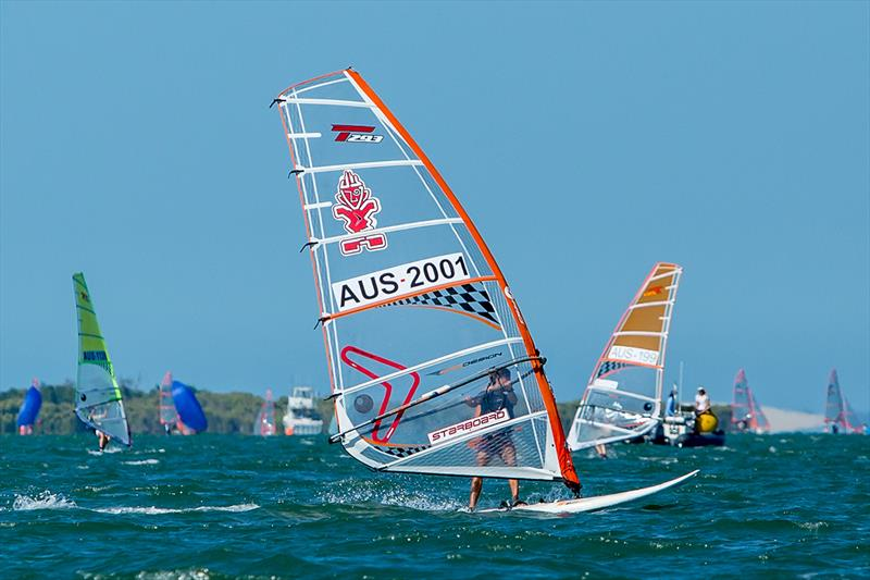 Alex Halank leading the Aussie contingent in the Bics - 2018 Australian Youth Championships - photo © Royal Queensland Yacht Squadron