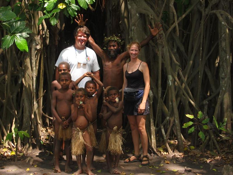 Garth Wilcox and Wendy Hinman with Vanuatu Kastum dancers - photo © Wendy Hinman Collection