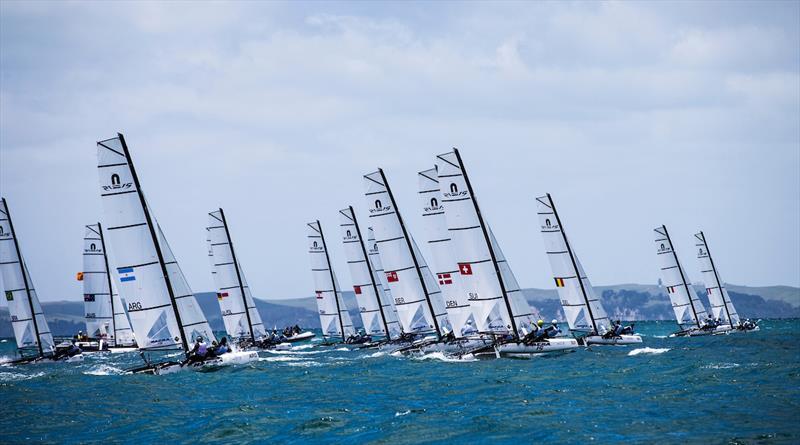 Nacra 15 fleet  - 2016 Aon Youth Sailing World Championships - photo © Pedro Martinez / Sailing Energy