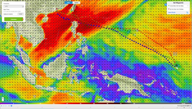 Weather routing - Predictwind - MAPFRE based on 0100UTC at January 12, Leg 4 - photo © Predictwind.com