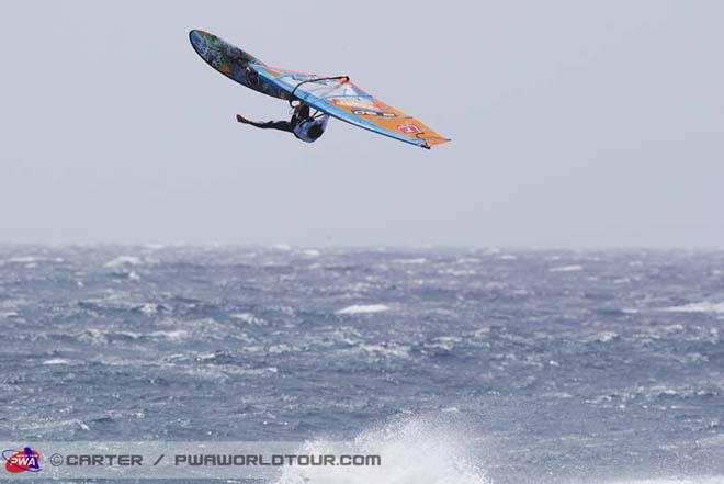 Alex Mussolini one legged back loop - PWA Tenerife World Cup 2013 ©  John Carter / PWA http://www.pwaworldtour.com
