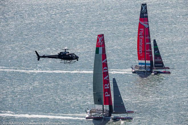 34th America's Cup - Louis Vuitton Cup Final - Race 5, Luna Rossa Challenge and Emirates Team New Zealand approach Alcatraz ©  Luna Rossa/Studio Borlenghi/Borlenghi-Butto