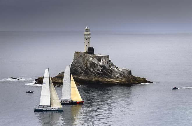 PLEOMAX (SWE) and TEAM HEINER ONE (NED) rounding the Fastnet Rock ©  Rolex/ Kurt Arrigo http://www.regattanews.com