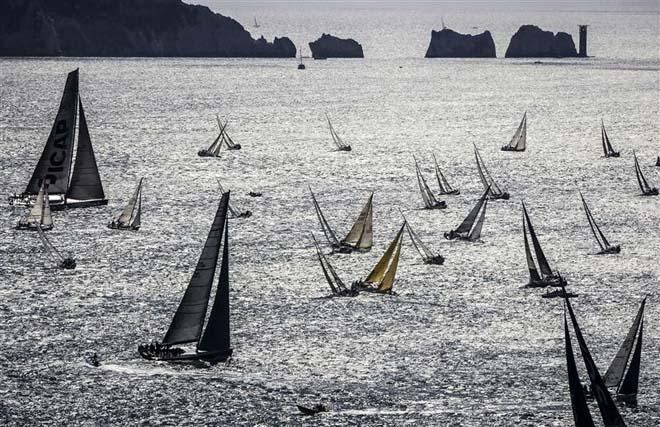 The Rolex Fastnet Race 2013 record breaking fleet passing by The Needles ©  Rolex/ Kurt Arrigo http://www.regattanews.com