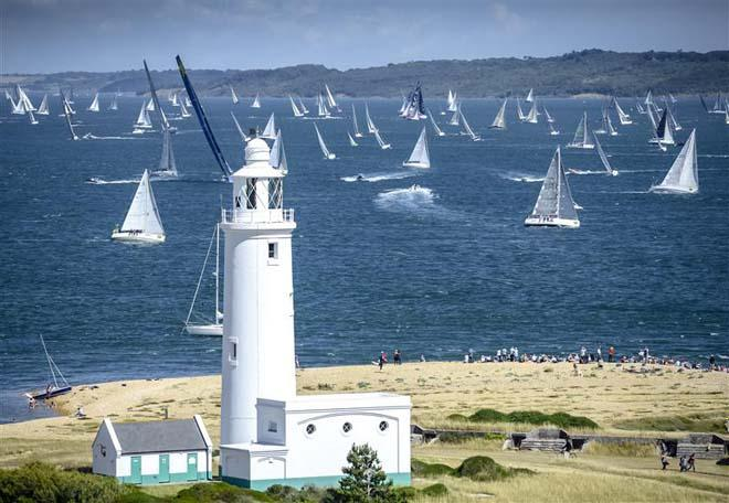 The Rolex Fastnet Race fleet fills the water between the Isle of Wight and the mainland ©  Rolex/ Kurt Arrigo http://www.regattanews.com