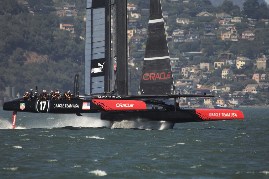 Within little more than a boat length, Oracle leaps onto her foils. - America's Cup © Chuck Lantz http://www.ChuckLantz.com