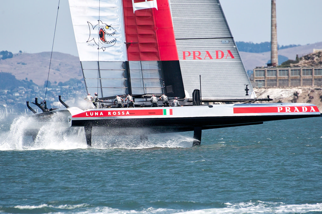 Luna Rossa looking stable and fast as they get ready to gybe towards Alcatraz. - America's Cup © Chuck Lantz http://www.ChuckLantz.com
