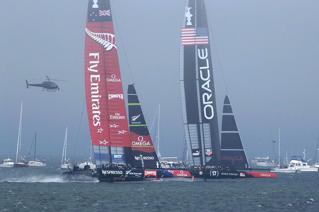 Oracle enjoys a brief lead ...  - America's Cup © Chuck Lantz http://www.ChuckLantz.com