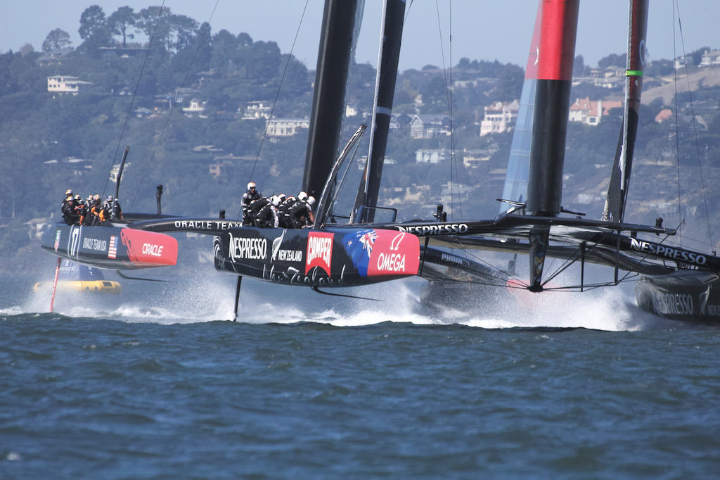 ETNZ leads Oracle towards the reaching mark. - America's Cup © Chuck Lantz http://www.ChuckLantz.com
