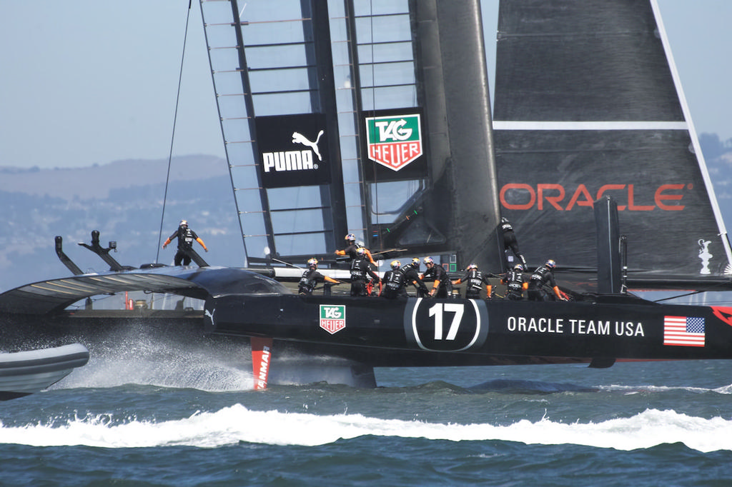 Already behind, Oracle prepares to gybe. - America's Cup © Chuck Lantz http://www.ChuckLantz.com