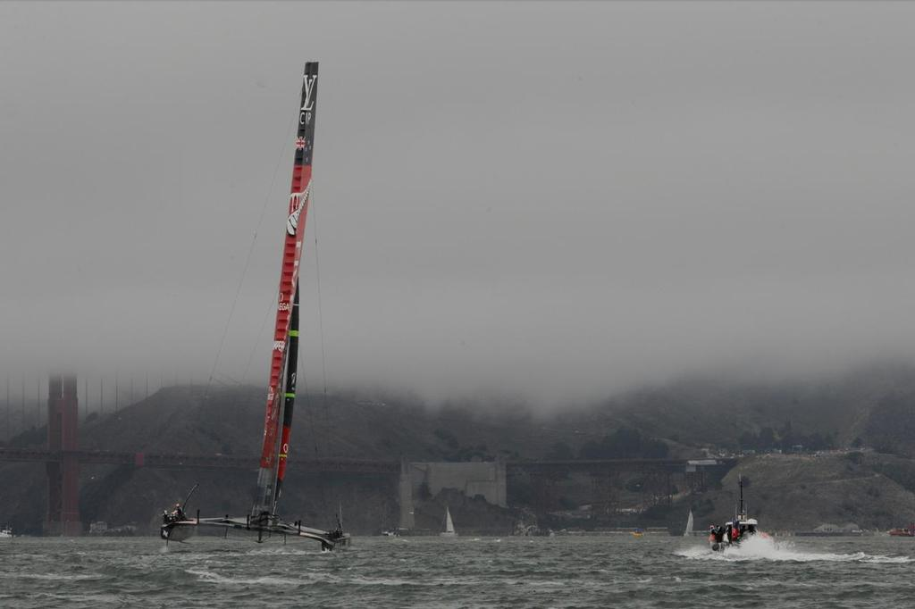 Emirates Team New Zealand heads toward the windward mark in match race 6 of the Louis Vuitton Cup finale on August 23, 2013 in San Francisco California.  ©  SW