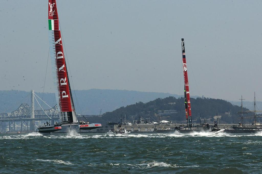 Both boats head toward leeward in the fourth match race of the Louis Vuitton Cup on August 21, 2013 in San Francisco California. ©  SW