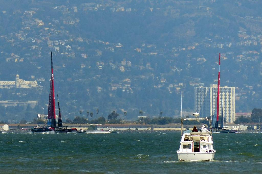 Emirates Team NZ foiling upwind - Leg 3, Louis Vuitton Final, Race 5. © John Navas