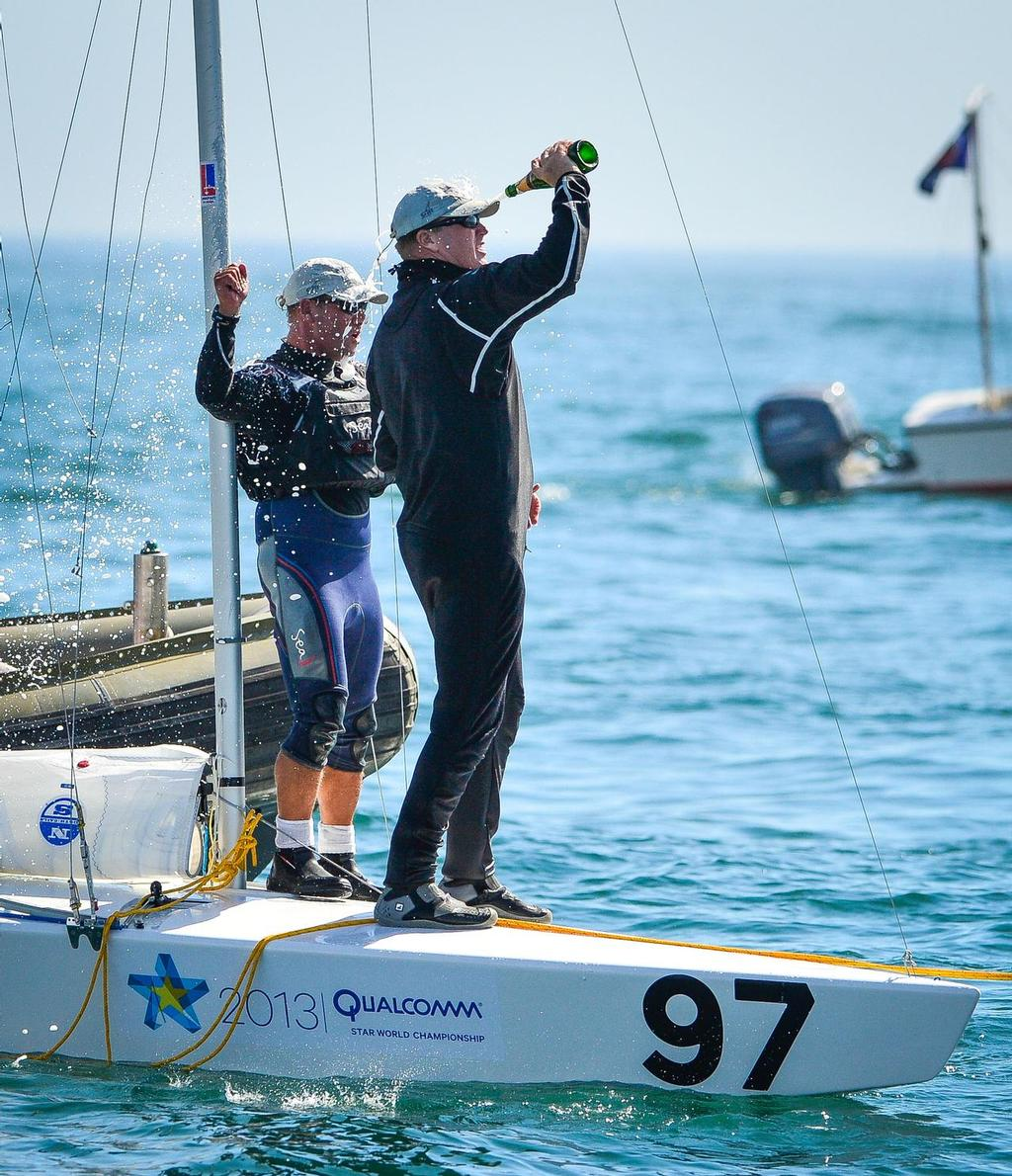 John MacCausland and Phil Trinter celebrate at the 2013 Qualcomm Star World Championship,San Diego Yacht Club - Day 6<br />  &copy;  Marc Rouiller/StarWorlds2013