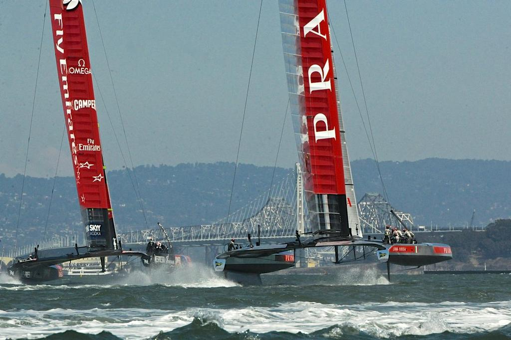 Match Race 5 at the Louis Vuitton Cup on August 21, 2013 in San Francisco California. ©  SW