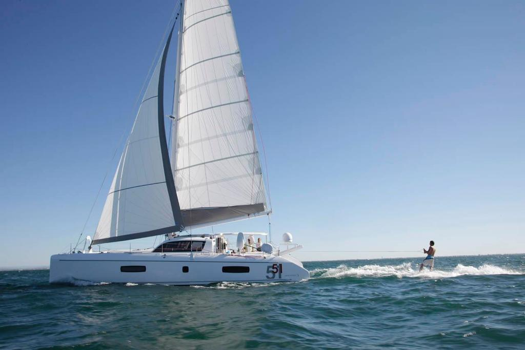 Outremer 51 with wakeboarder in tow © Ross Southam-Walker http://www.multihullcentral.com/outremer-51/