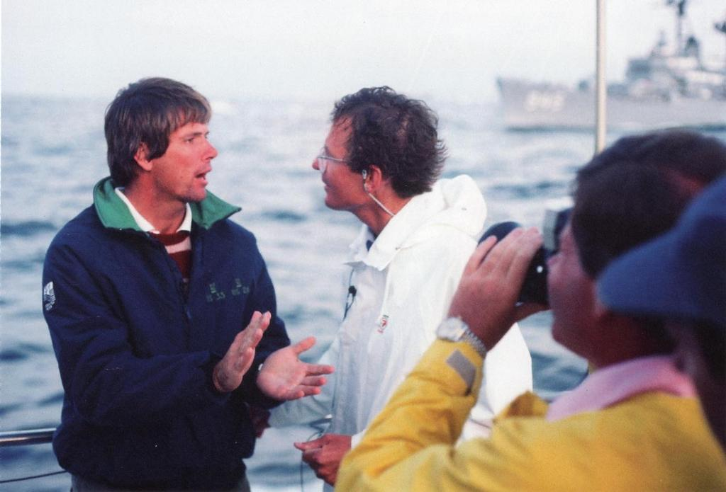 Australian reporter, Bruce Stannard (right) calls on Gary Jobson to explain tactics and strategy © Maritime Productions LLC http://www.maritimeproductions.tv/