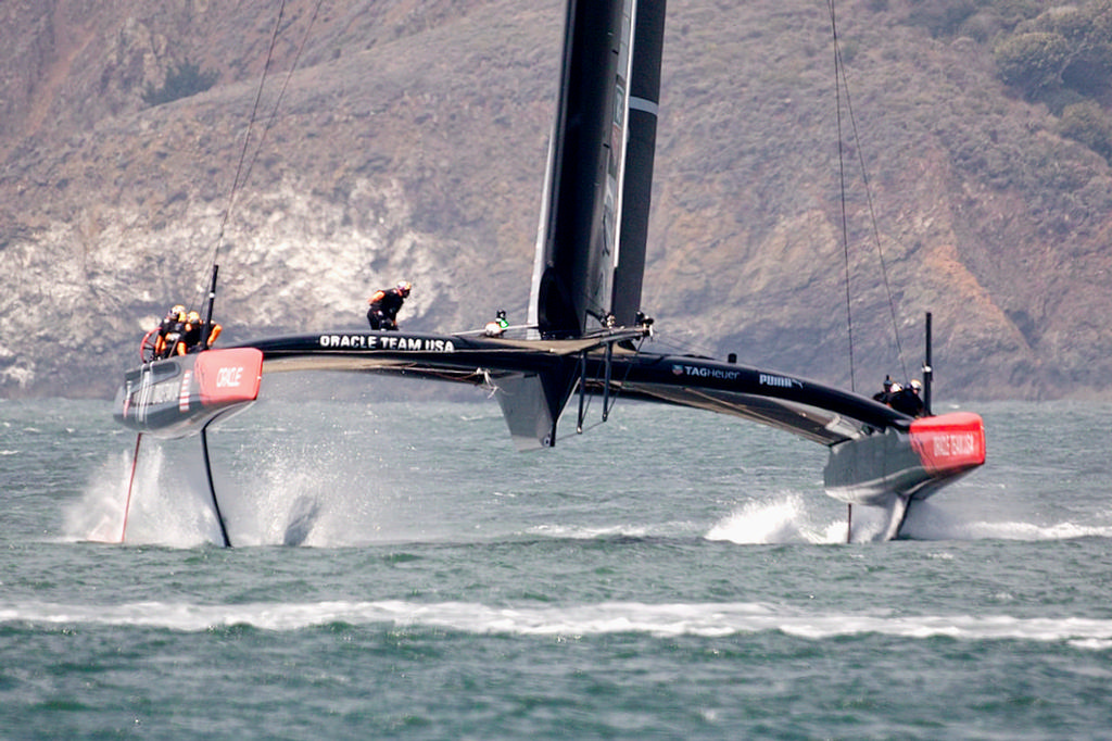 Oracle in the middle of a gybe.  - America's Cup © Chuck Lantz http://www.ChuckLantz.com