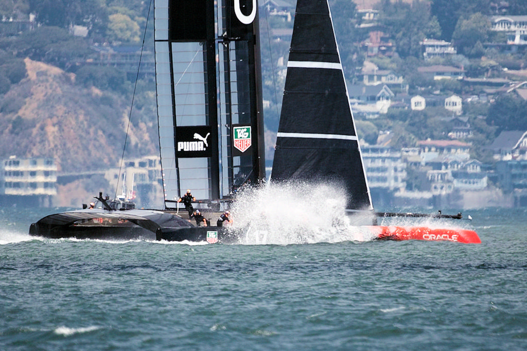 Oracle slams down after a failed foil-to-foil gybe attempt. - America's Cup © Chuck Lantz http://www.ChuckLantz.com