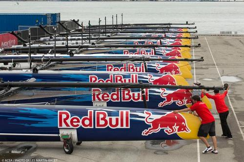 The strict one -design AC45's lined up ahead of the Red Bull Youth America's Cup. Oracle Team USA's illegal alterations took their boat out of class © ACEA - Photo Gilles Martin-Raget http://photo.americascup.com/