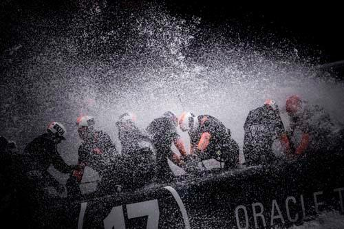 Oracle Team USA in the spray © Guilain Grenier Oracle Team USA http://www.oracleteamusamedia.com/