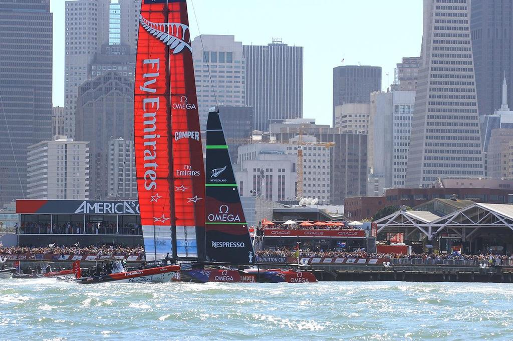 Oracle Team USA v Emirates Team New Zealand. America's Cup Day 8 San Francisco. Emirates Team NZ salutes her fans after winning Race 11 © Richard Gladwell www.photosport.co.nz