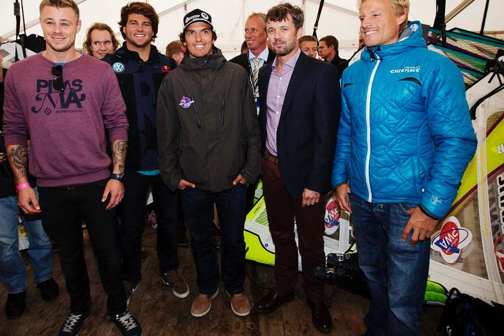 (From left to right): Danish windsurfing champion Kenneth Danielsen; German double world champion Philip Koster; Spanish 2010 world champion and world no.2 Victor Fernandez Lopez; Crown Prince Frederik of Denmark; and German windsurfing champion Klaas Voget. ©  John Carter / PWA http://www.pwaworldtour.com