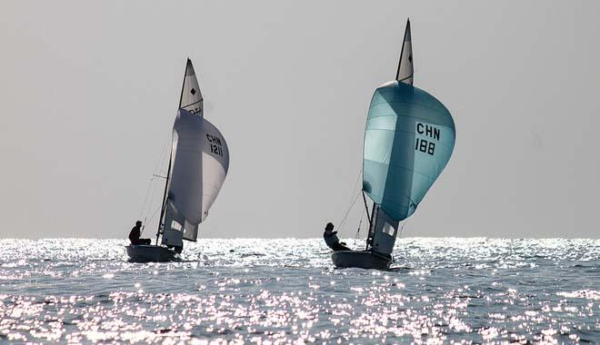 Chinese 470 Women Downwind - 2013 ISAF Sailing World Cup Qingdao Day 4 © ISAF