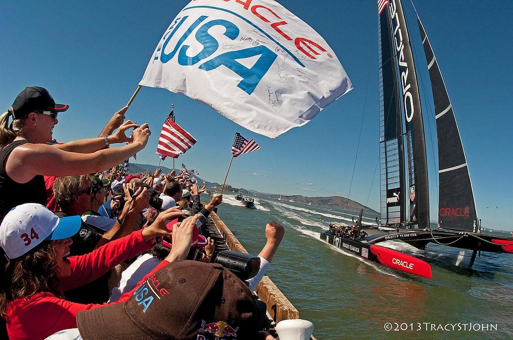 Oracle Team USA finishes on Day 13, America's Cup 2013 © Tracy St John http://www.stjohnphoto.tv/