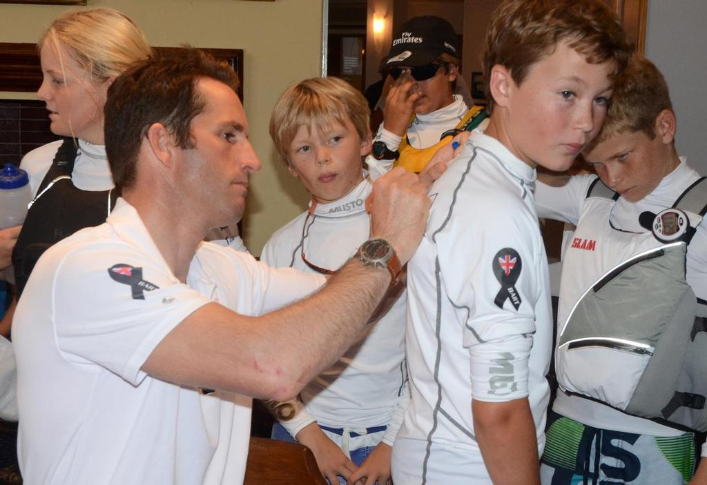 Ben Ainslie signs Campbell Patton's new rashguard shirt.  ©  Talbot Wilson / Argo Group Gold Cup http://www.argogroupgoldcup.com/