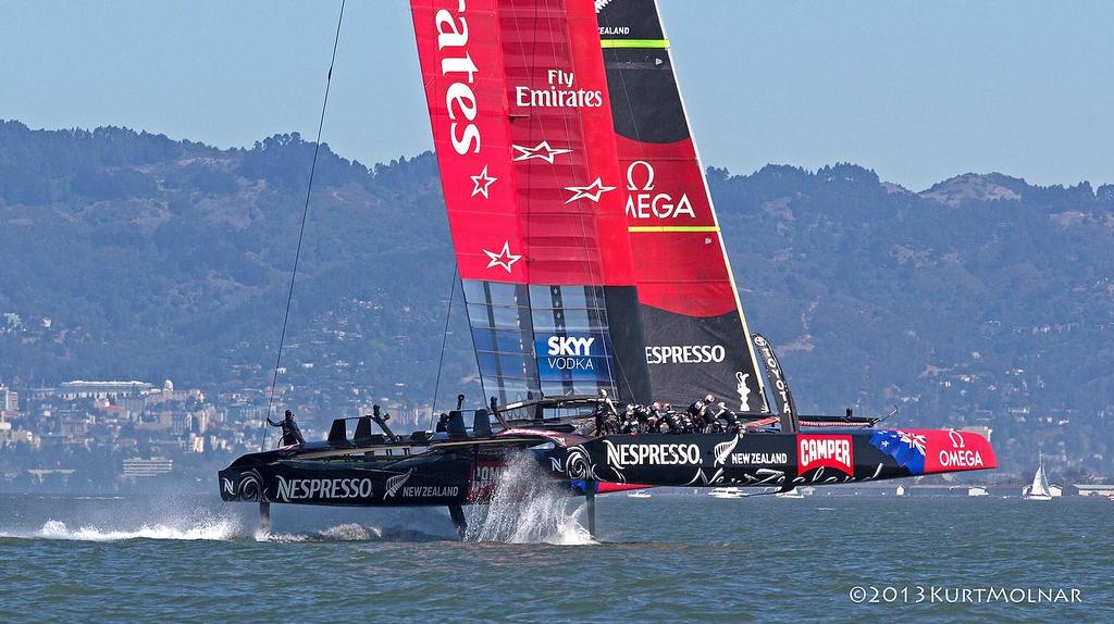 Emirates Team NZ on Day 13, America's Cup 2013 © Kurt Molnar