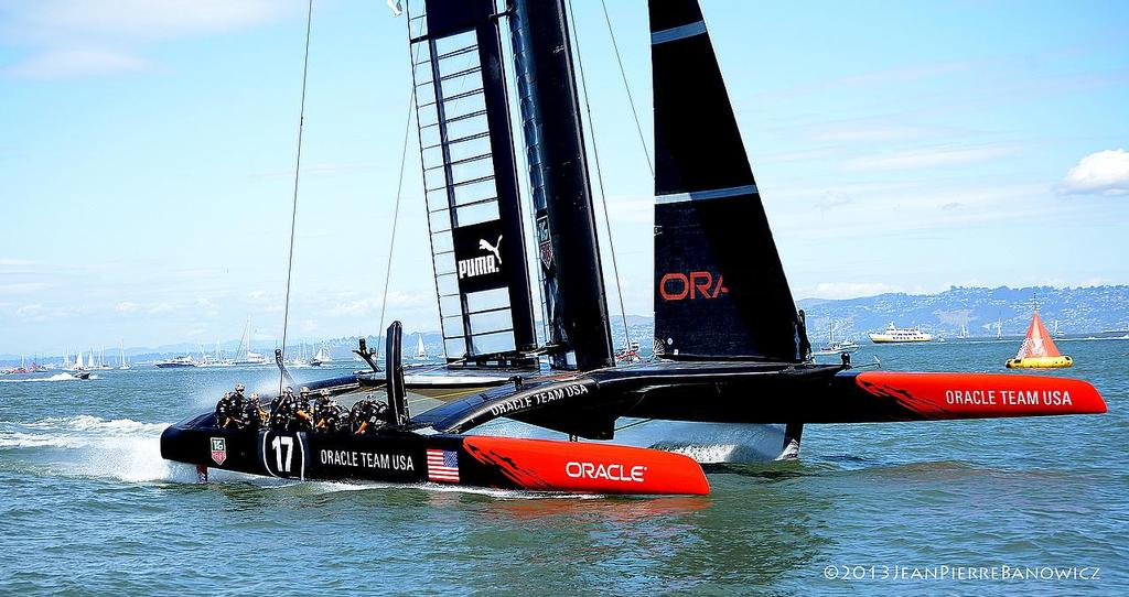 Oracle Team USA finishes on Day 13, America's Cup 2013 © Jean Pierre Banowicz