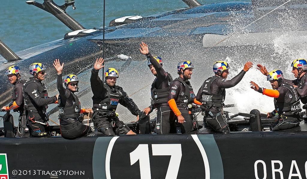 Oracle Team USA celebrates on Day 13, America's Cup 2013 © Tracy St John http://www.stjohnphoto.tv/