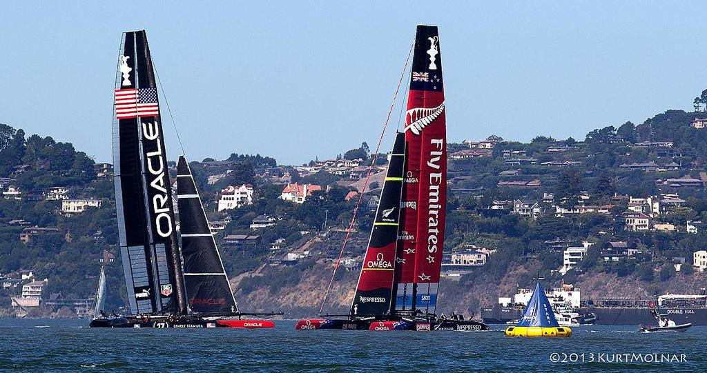 OTUSA and ETNZ at a mark on Day 13, America's Cup 2013 © Kurt Molnar