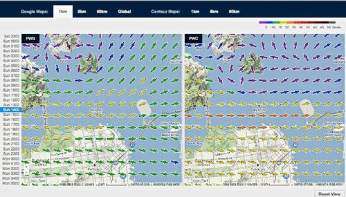Wind map for September 22, 2013 San Francisco at 1415hrs - Start of Race 15 © PredictWind.com www.predictwind.com