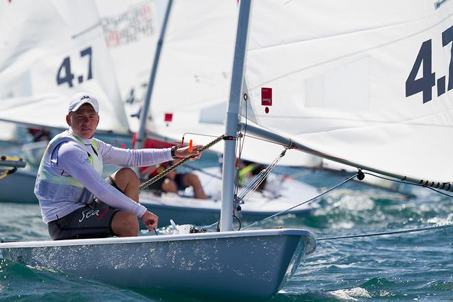 Hamish Wiltshire (NT) leader of the 4.7 fleet with two bullets on day one © Guido Brandt