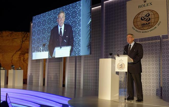 HM King Constantine during speech at the 2013 ISAF Rolex World Sailor of the Year Awards Ceremony ©  Rolex/ Kurt Arrigo http://www.regattanews.com