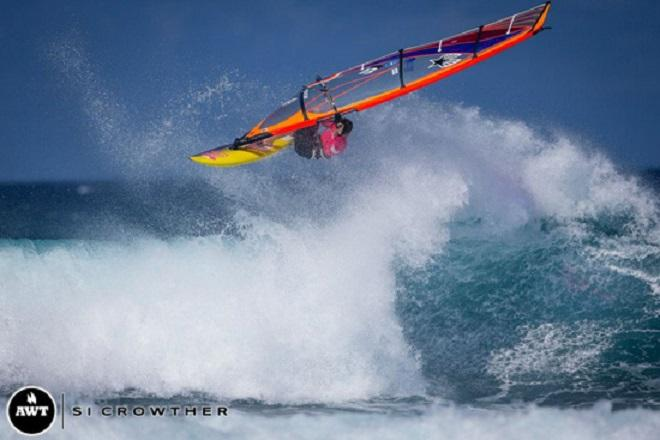 Russ balances time on the AWT with work for Hi-Tech Maui. © Si Crowther / AWT http://americanwindsurfingtour.com/