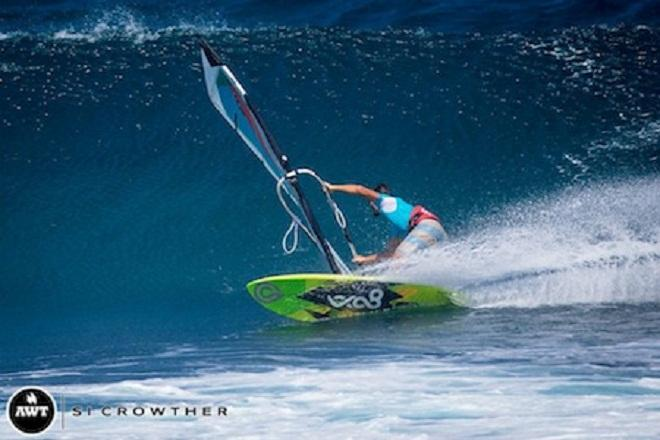 Powerful riding by Laurent in Round #3, he went on to win his heat in Round #4 following an impressive display which included a Taka and a 360  © Si Crowther / AWT http://americanwindsurfingtour.com/