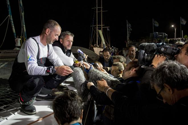 skipper Sidney Gavignet (FRA) with co skipper Damian Foxall (IRL) talking to press in the 2013 Transat Jacques Vabre © Vincent Curutchet / DPPI