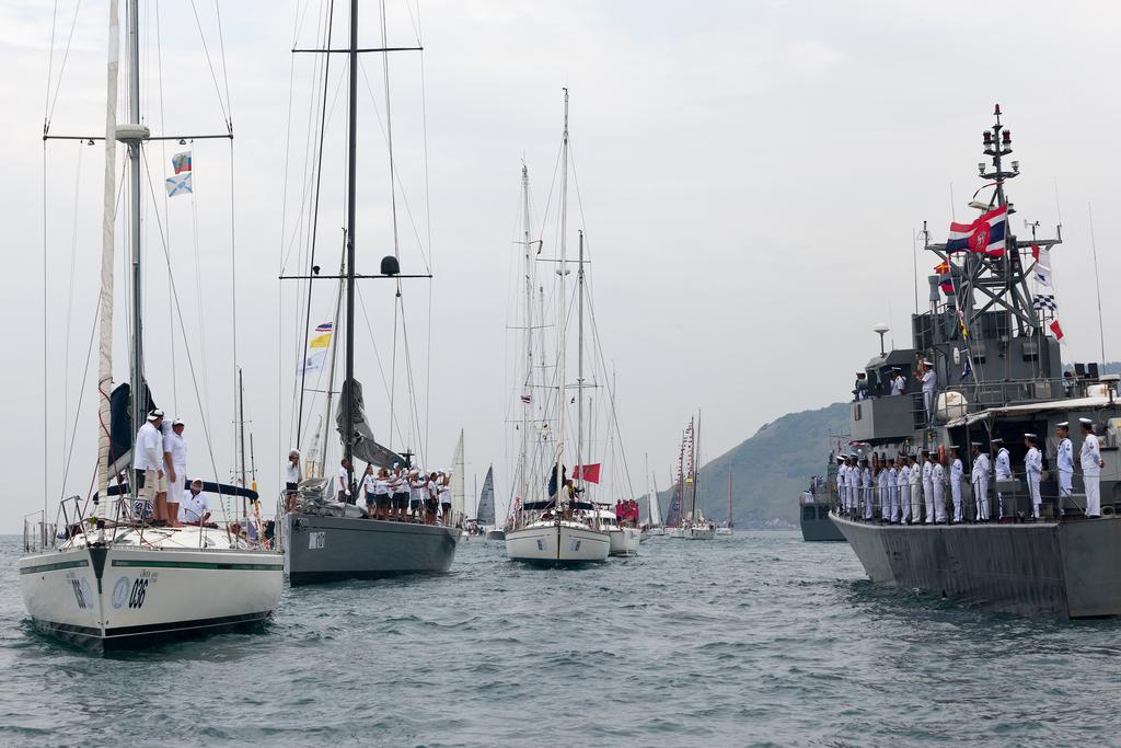 Phuket King's Cup 2013, Sail-past. RTNS Pattani takes the salute. © Guy Nowell