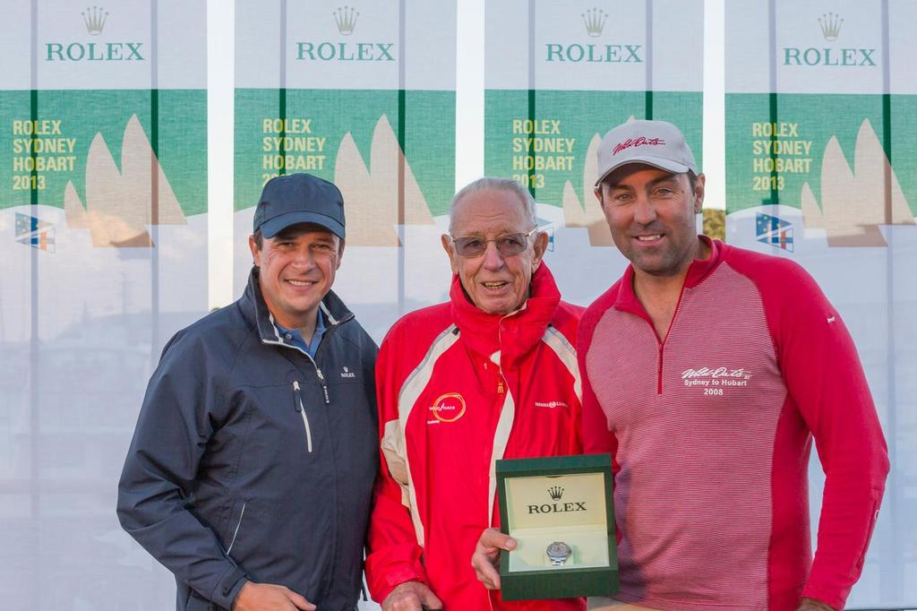 Patrick Boutellier, Rolex Australia presents Bob Oatley and Mark Richards with the Rolex timepiece.  - Rolex Sydney to Hobart 2013 ©  Rolex / Carlo Borlenghi http://www.carloborlenghi.net