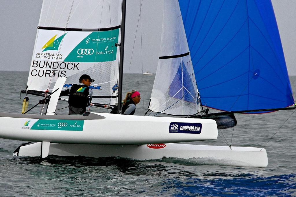 ISAF Sailing World Cup, Melbourne Day 2 - Nacra 17 Bundock and Curtis (AUS) © Richard Gladwell www.photosport.co.nz