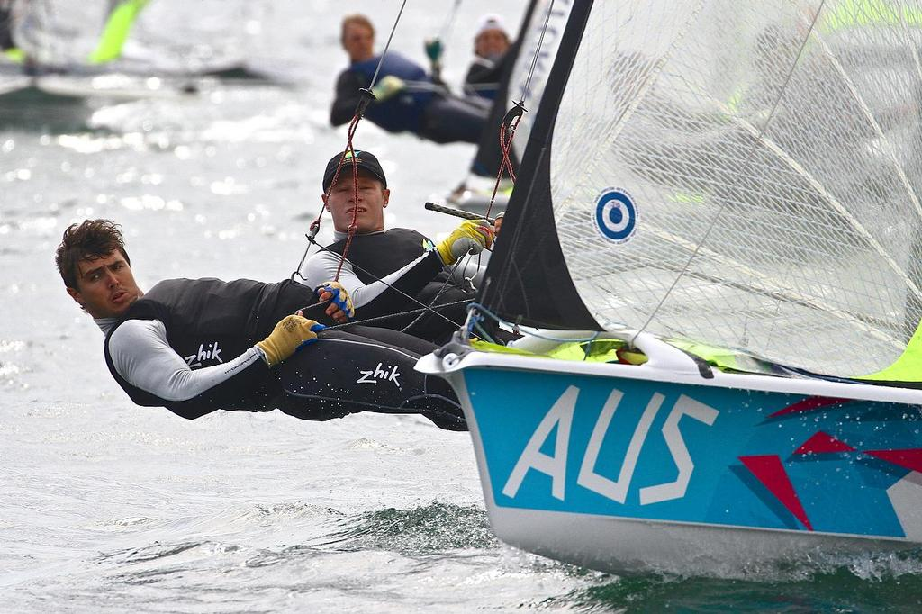 ISAF Sailing World Cup, Melbourne Day 2 Jensen and Outteridge (AUS) © Richard Gladwell www.photosport.co.nz