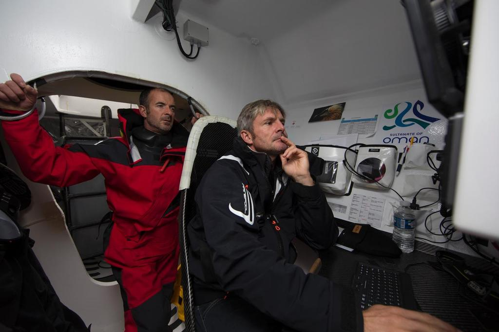 The Oman Air Musandam MOD70 skipper Sidney Gavignet  (FRA) with co skipper Damian Foxall (IRL).<br />  &copy; Lloyd Images http://lloydimagesgallery.photoshelter.com/