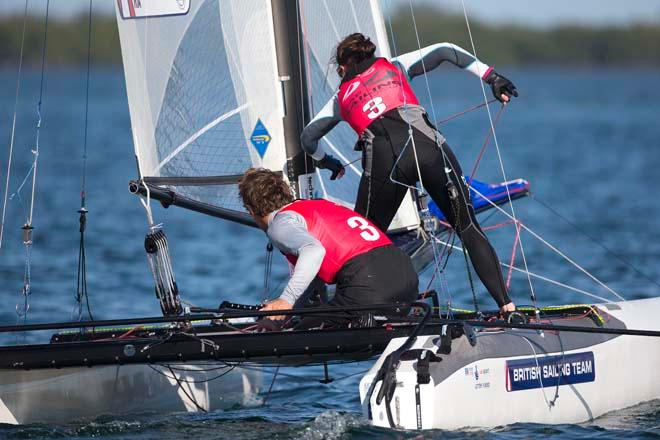 Ben Saxton and Hannah Diamond, Nacra 17 - ISAF Sailing World Cup Miami 2014 © Richard Langdon /Ocean Images http://www.oceanimages.co.uk