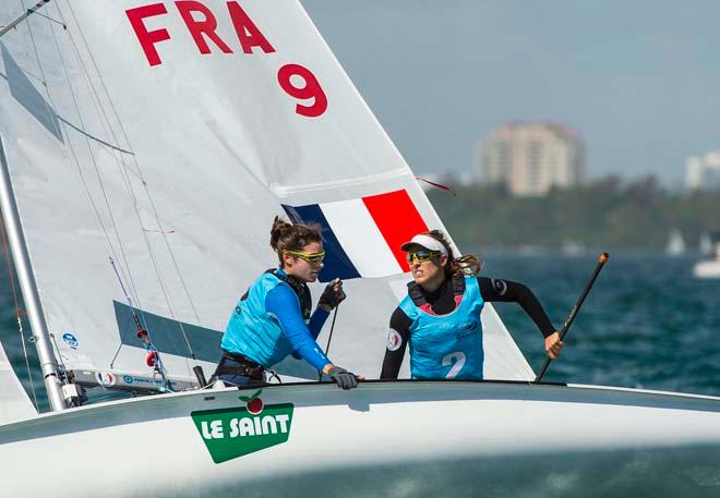 Camille Lecointre and Helene Defrance - Sailing World Cup 2014, Miami, Medal Race 470 Women © Walter Cooper /US Sailing http://ussailing.org/